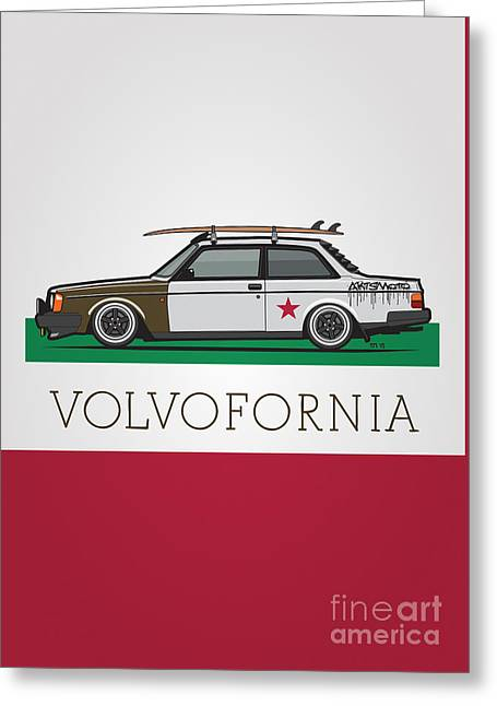 Volvofornia Slammed Volvo 242 240 Coupe California Style Greeting Card by Monkey Crisis On Mars