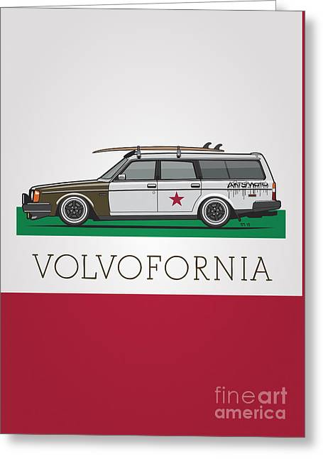 Volvofornia Slammed Volvo 245 240 Wagon California Style Greeting Card by Monkey Crisis On Mars