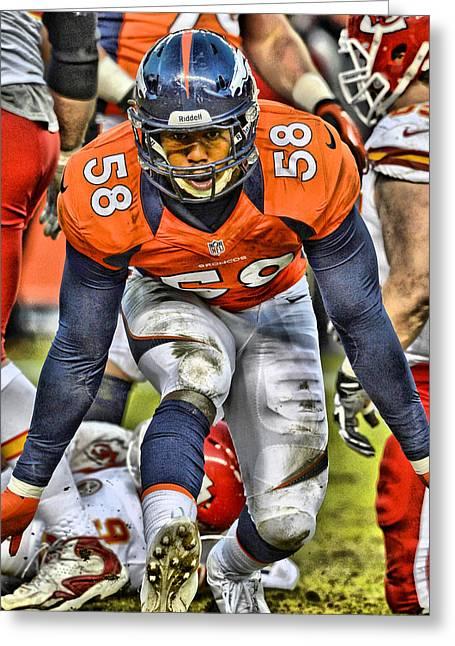 Von Miller Broncos Art 4 Greeting Card
