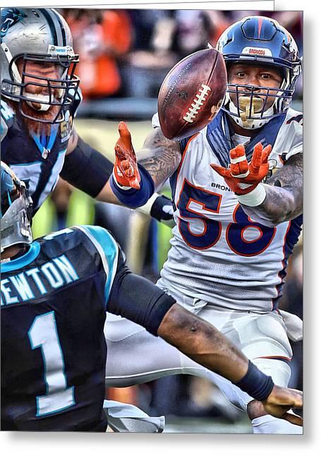 Von Miller Broncos Art Greeting Card