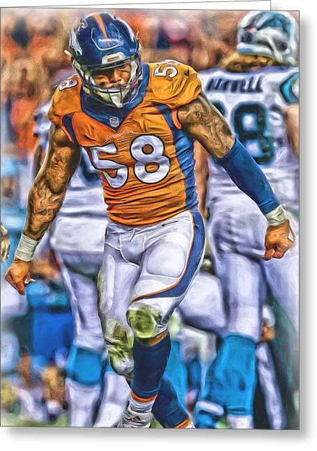 Von Miller Broncos Oil Art Greeting Card