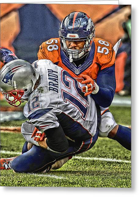 Von Miller Denver Broncos Art Greeting Card