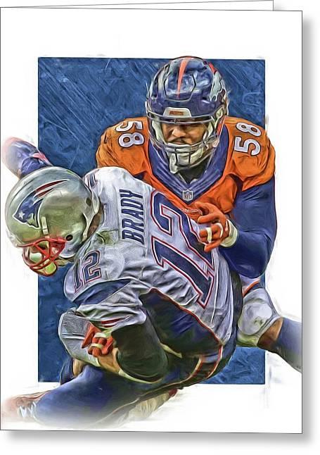 Von Miller Denver Broncos Oil Art4 Greeting Card