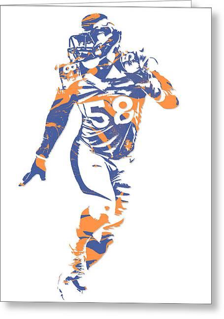 Von Miller Denver Broncos Pixel Art 10 Greeting Card
