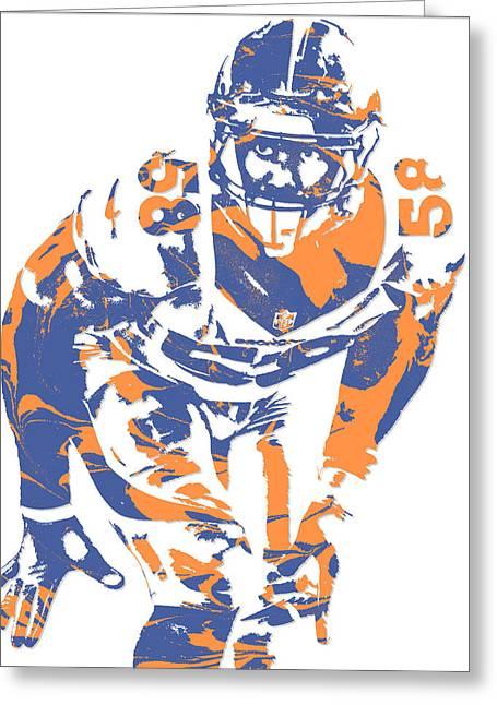 Von Miller Denver Broncos Pixel Art 12 Greeting Card