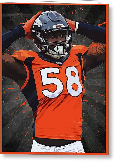 Von Miller Greeting Card by Semih Yurdabak