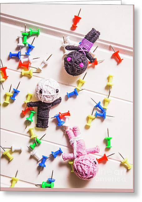 Voodoo Dolls Surrounded By Colorful Thumbtacks Greeting Card