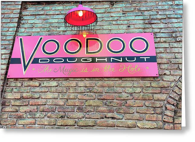 Voodoo Donuts Sign Board Greeting Card