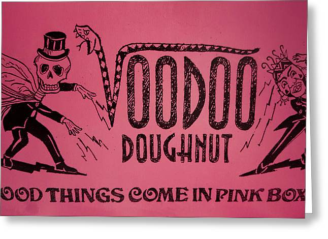 Voodoo Doughnut Come In Pink Boxes Greeting Card