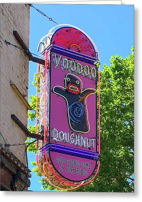 Voodoo Doughnut Neon Sign  Greeting Card