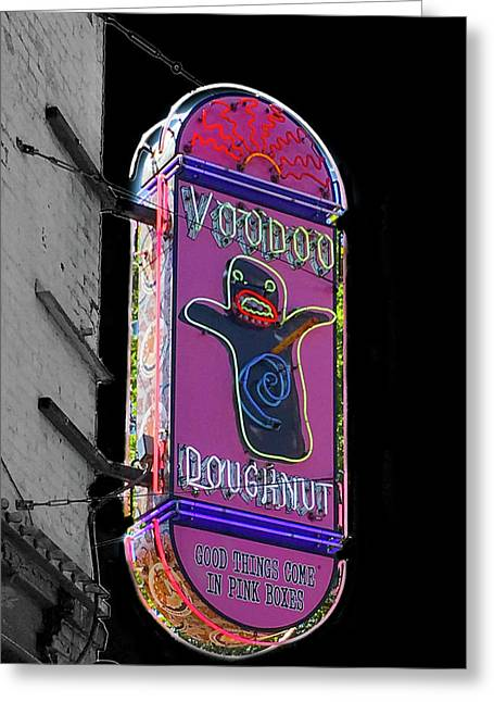 Voodoo Doughnut Neon Sign In Black And White Greeting Card
