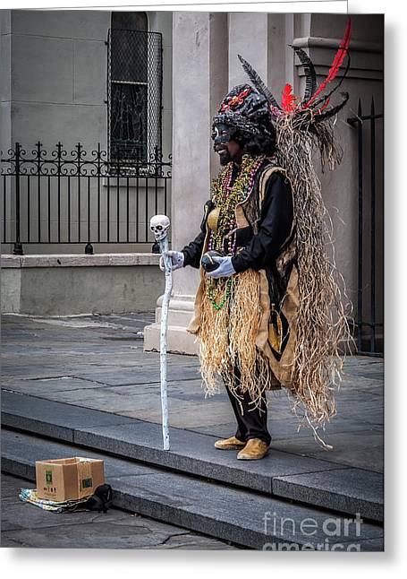 Voodoo Man In Jackson Square - Nola Greeting Card