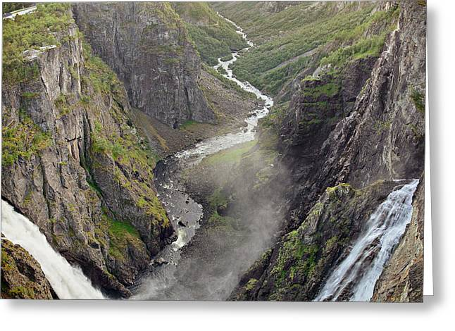 Voringsfossen Waterfall And Canyon Greeting Card by IPics Photography