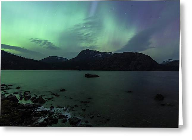 Vostervatnet Lake And Aurora Greeting Card