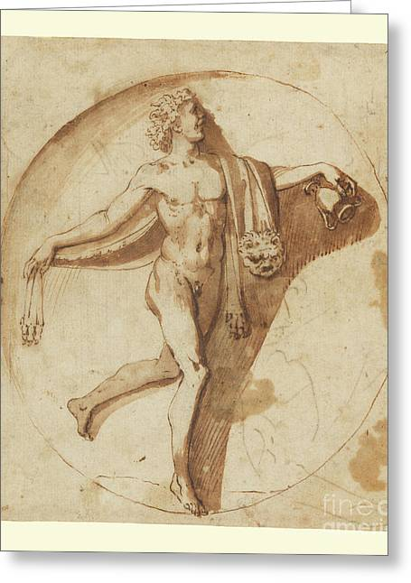 Votary Of Bacchus By Nicolas Poussin Greeting Card