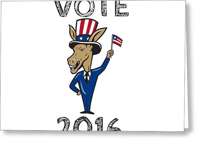 Vote 2016 Democrat Donkey Mascot Flag Cartoon Greeting Card by Aloysius Patrimonio