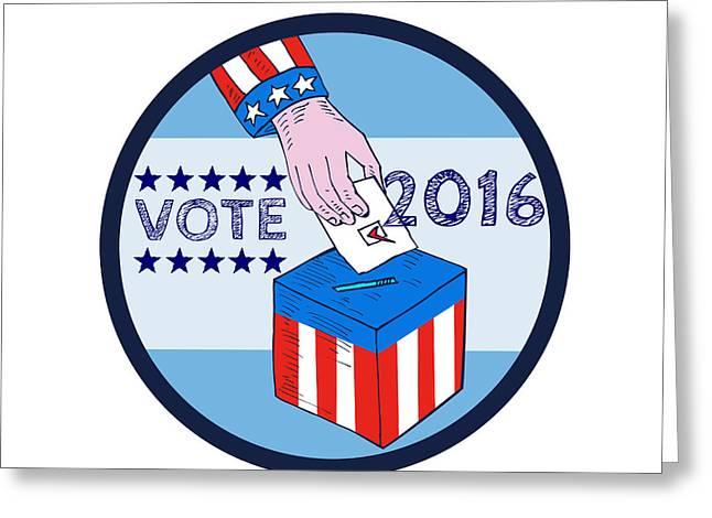 Vote 2016 Hand Ballot Box Circle Etching Greeting Card