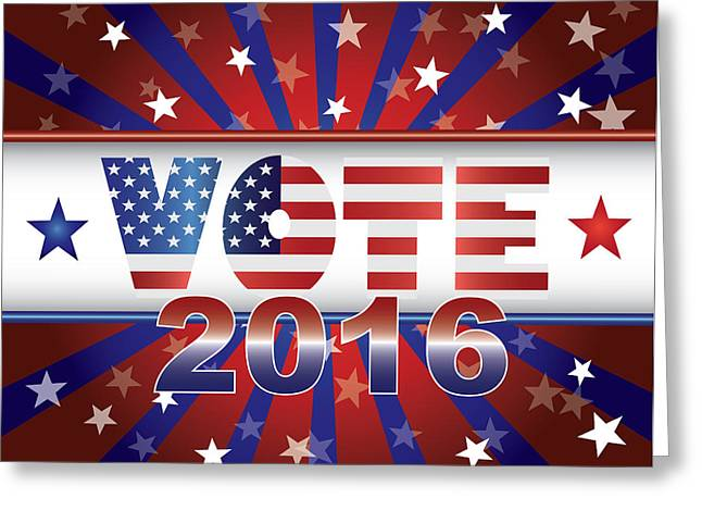 Vote 2016 Presidential Election On Usa Flag Background Illustrat Greeting Card by Jpldesigns