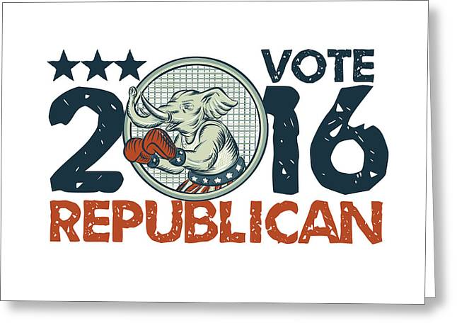 Vote Republican 2016 Elephant Boxer Circle Etching Greeting Card by Aloysius Patrimonio