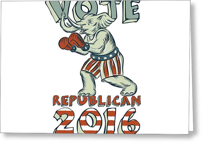 Vote Republican 2016 Elephant Boxer Isolated Etching Greeting Card by Aloysius Patrimonio