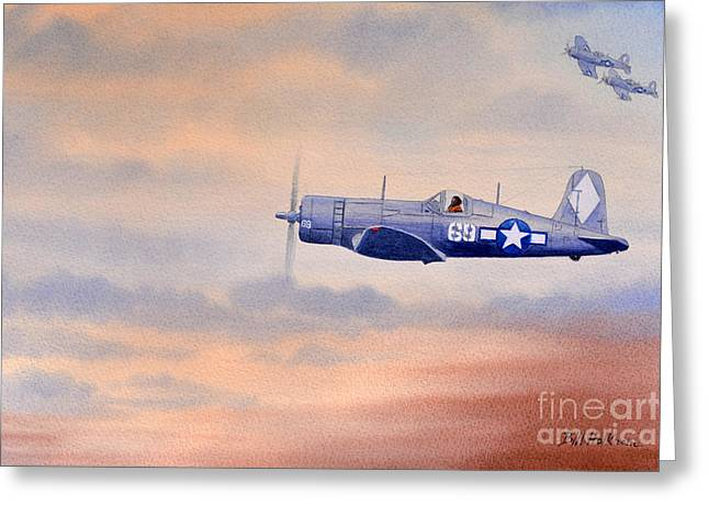 Greeting Card featuring the painting Vought F4u-1d Corsair Aircraft by Bill Holkham