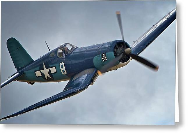 Planes Of Fame Greeting Cards - Vought F4U Corsair 2011 Chino Air Show Greeting Card by Gus McCrea