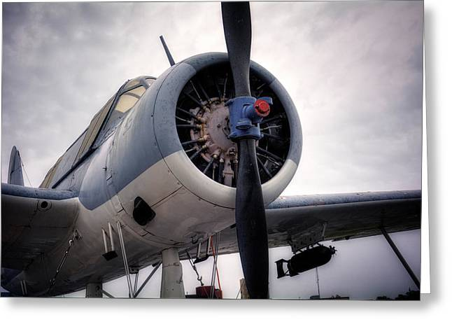 Vought Os2u Kingfisher Greeting Card by Chrystal Mimbs