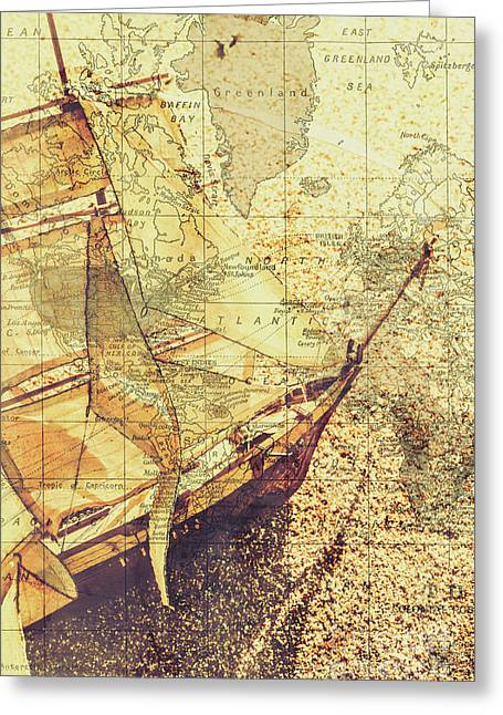 Voyage Concept. Ship Floating On Map Background Greeting Card by Jorgo Photography - Wall Art Gallery