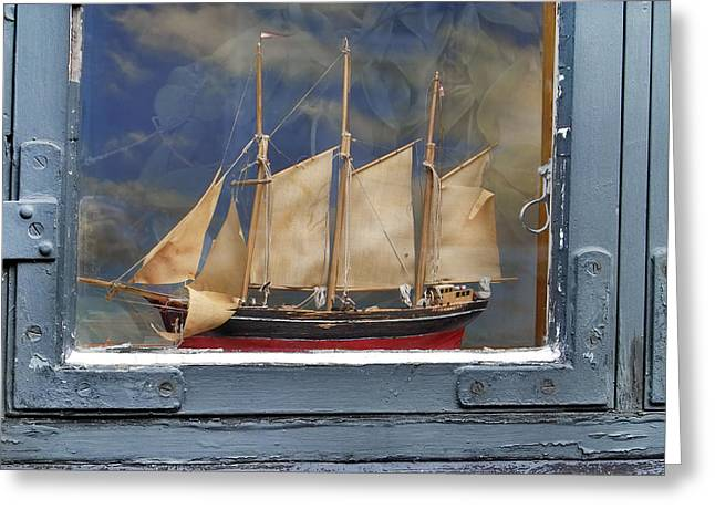 Voyage In A Window Greeting Card by Robert Lacy