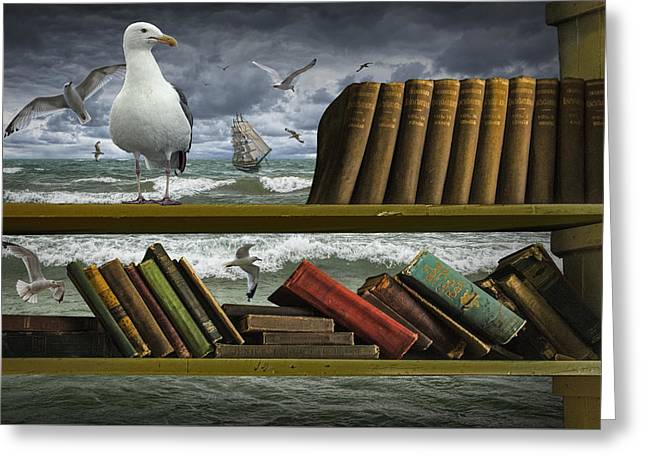 Voyage Into The World Of Books Greeting Card by Randall Nyhof