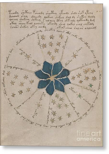 Voynich Manuscript Astro Rosette 2 Greeting Card