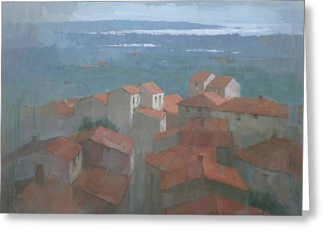 Greeting Card featuring the painting Vrsar, Croatia by Steve Mitchell