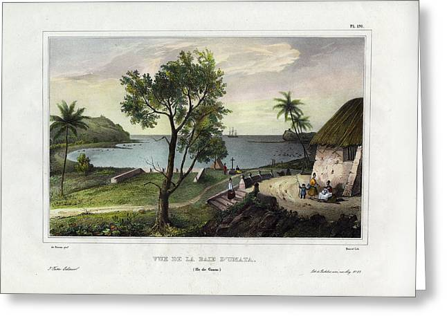 Greeting Card featuring the drawing Vue De La Baie Dumata Umatic Bay by dUrville duSainson
