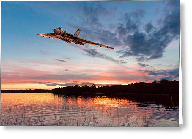Vulcan Low Over A Sunset Lake Greeting Card