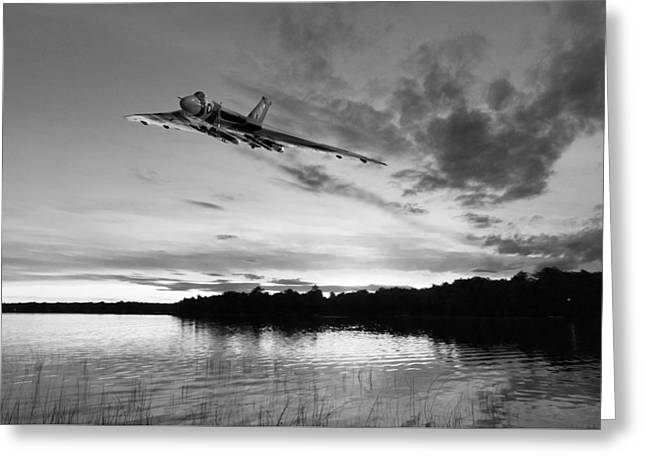 Vulcan Low Over A Sunset Lake Sunset Lake Bw Greeting Card by Gary Eason