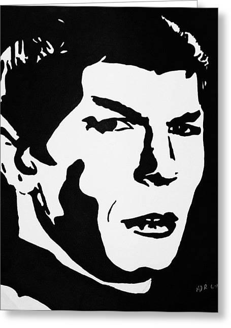 Spock Drawings Greeting Cards - Vulcan Spock Greeting Card by Kenneth Regan