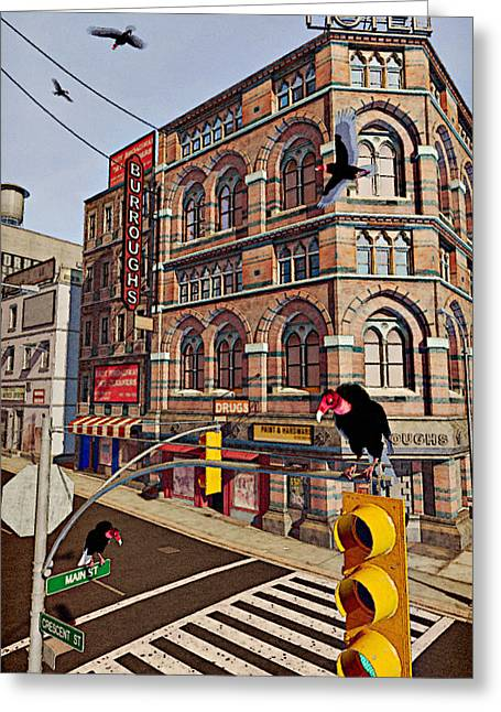 Vultures On Main Street Greeting Card by Peter J Sucy