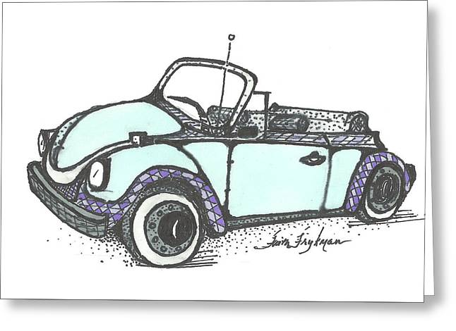Vw Beetle, Blue Convertible Greeting Card by Faith Frykman