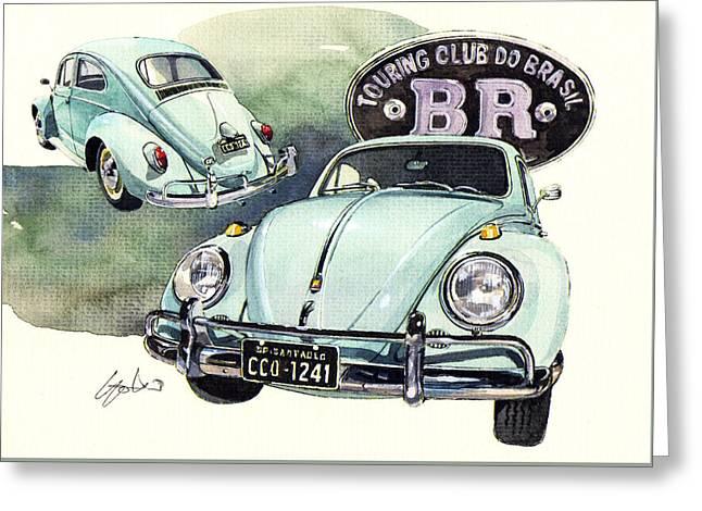 Vw Beetle Fusca Greeting Card by Yoshiharu Miyakawa