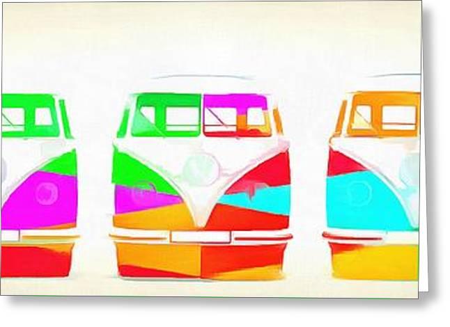 Vw Bus Line Up Pop Art Greeting Card by Edward Fielding
