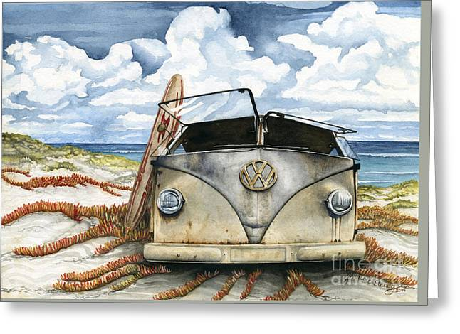 Vw Bus On The Beach Greeting Card