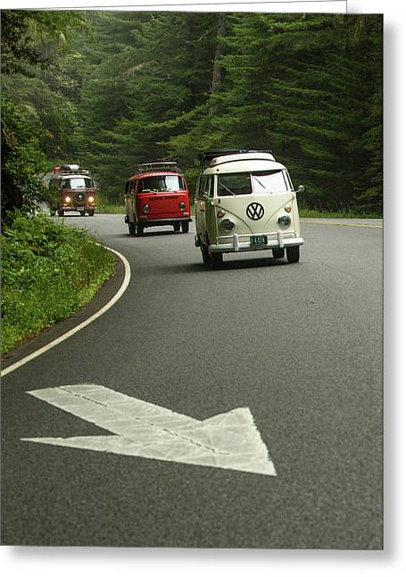 Vw Buses And A Really Big Arrow Greeting Card