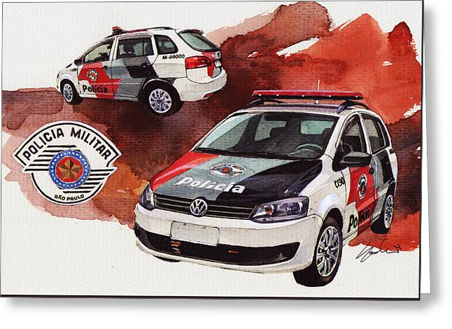 Vw Spacebox  Military Police Car Greeting Card