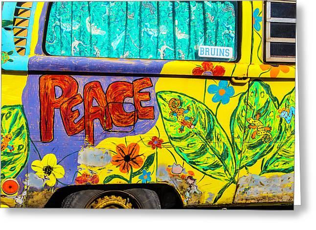 Vw Peace Van Greeting Card by Garry Gay