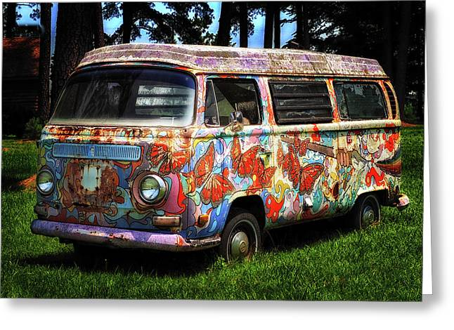Vw Psychedelic Microbus Greeting Card