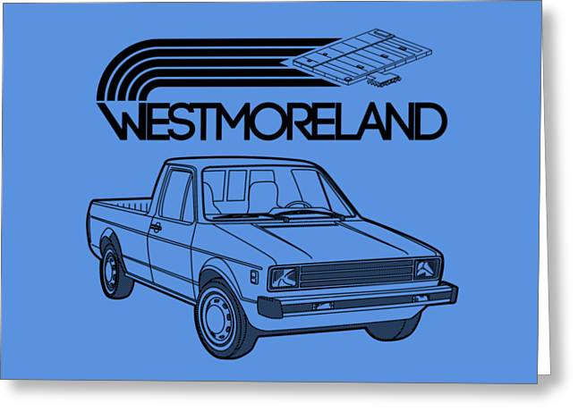 Vw Rabbit Pickup - Westmoreland Theme - Black Greeting Card