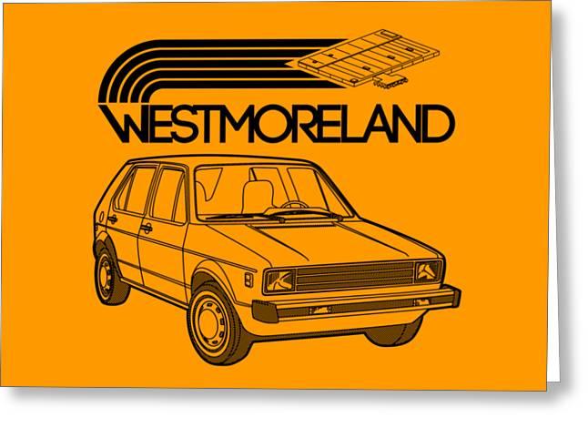 Vw Rabbit - Westmoreland Theme - Black Greeting Card