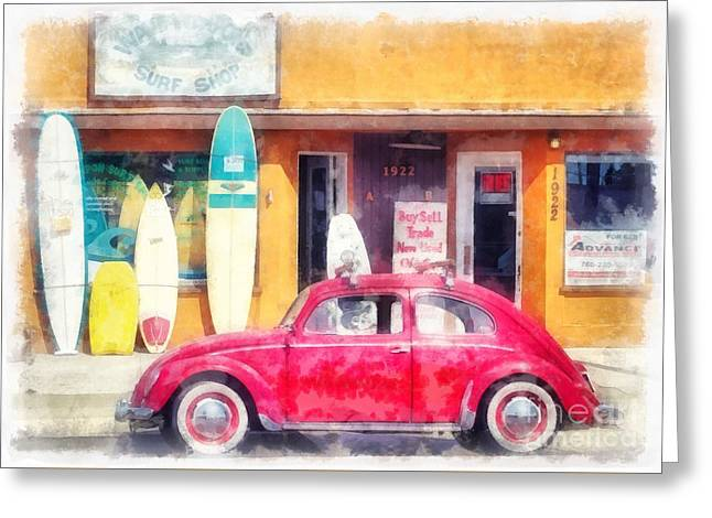 Vw Surfer Watercolor Greeting Card