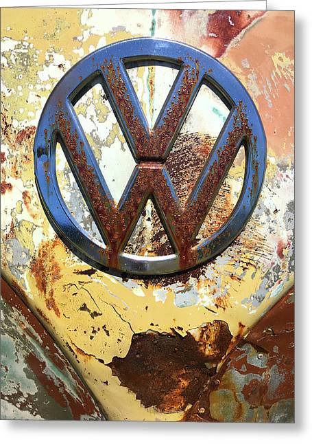 Vw Volkswagen Emblem With Rust Greeting Card by Kelly Hazel
