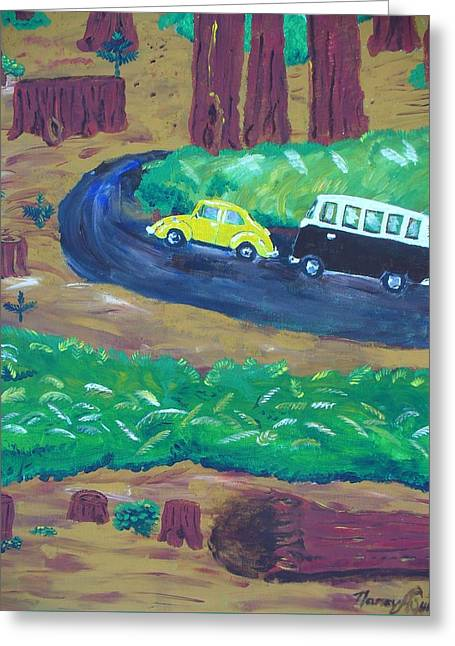 Vws In The Redwoods Greeting Card by Nancy Suiter
